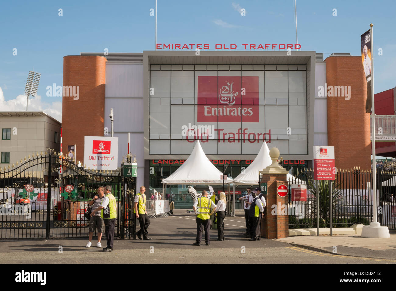Scene outside Members main entrance to Old Trafford at Lancashire County Cricket Ground during Ashes Test Match - Stock Image
