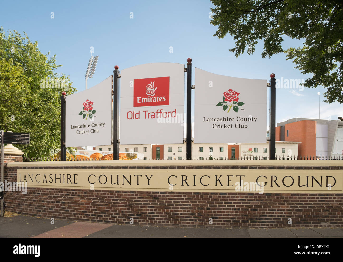 Sign for Emirates Old Trafford at Lancashire County Cricket Ground in Manchester, Lancashire, England, UK, Britain - Stock Image