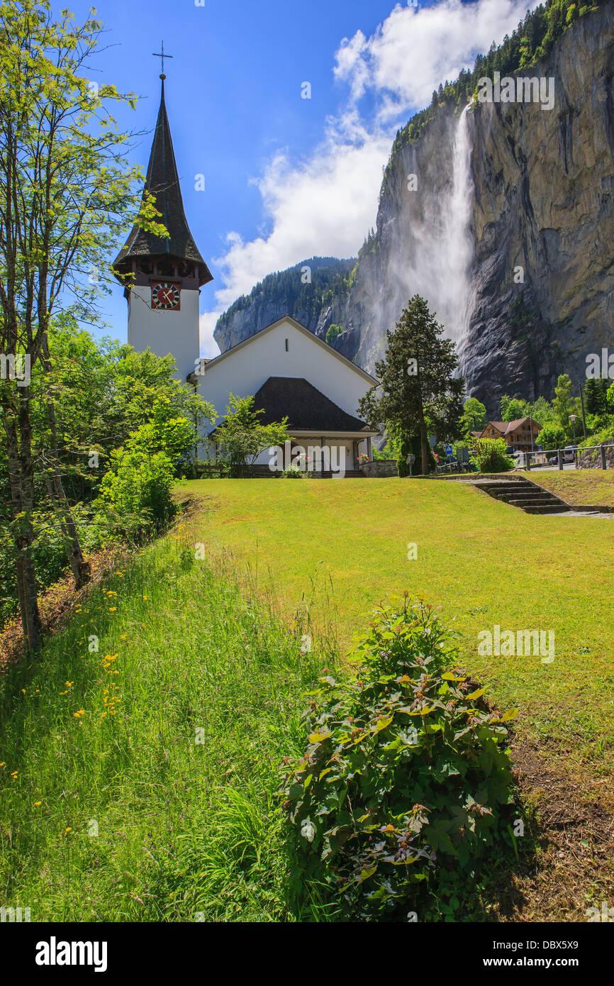 Church in Lauterbrunnen, Bernese Oberland, Switzerland. - Stock Image