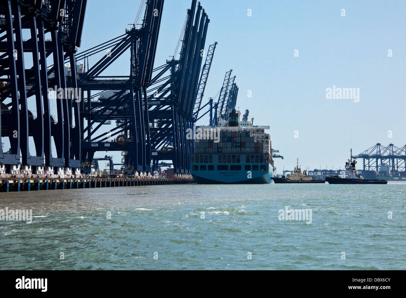 Maersk Karachi about to depart from Felixstowe Container Port, Suffolk, UK - Stock Image