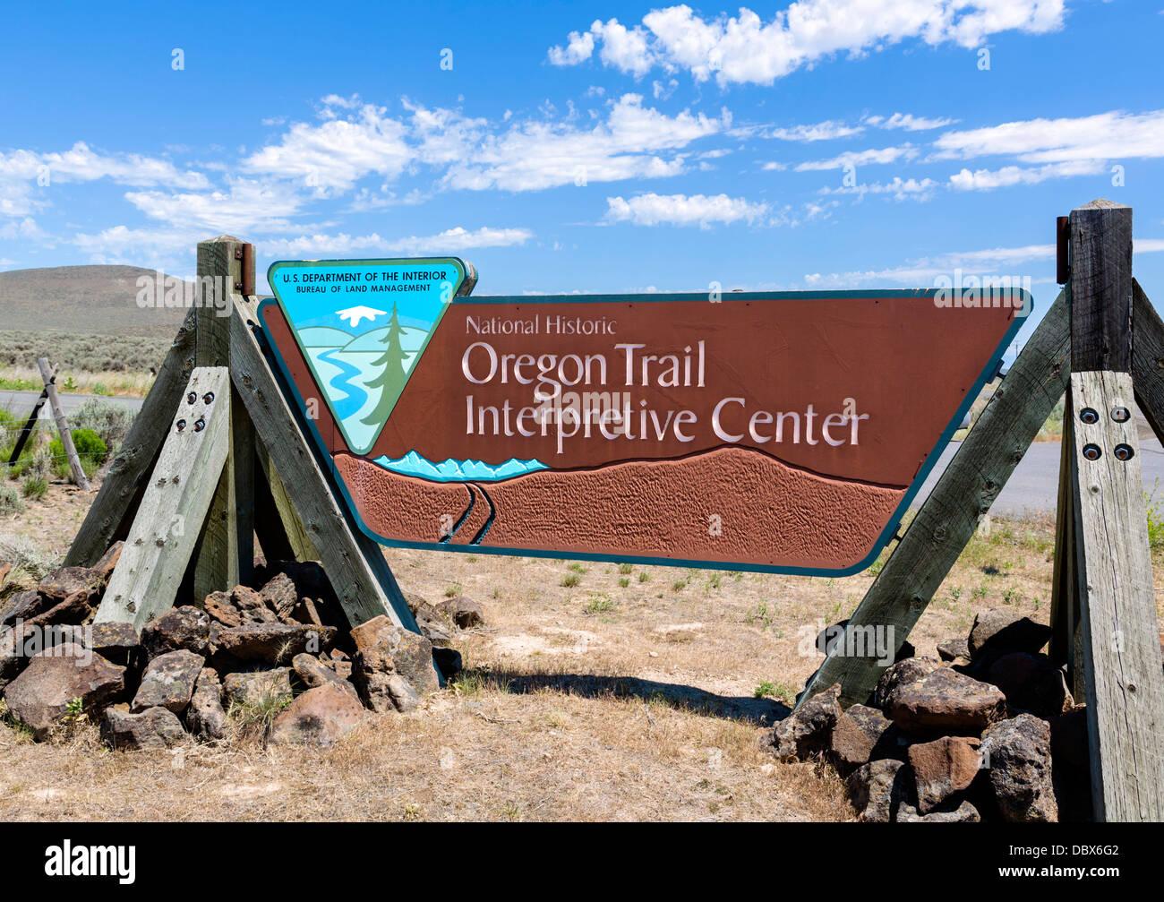 Entrance to the National Historic Oregon Trail Interpretive Center, Baker, Oregon, USA - Stock Image