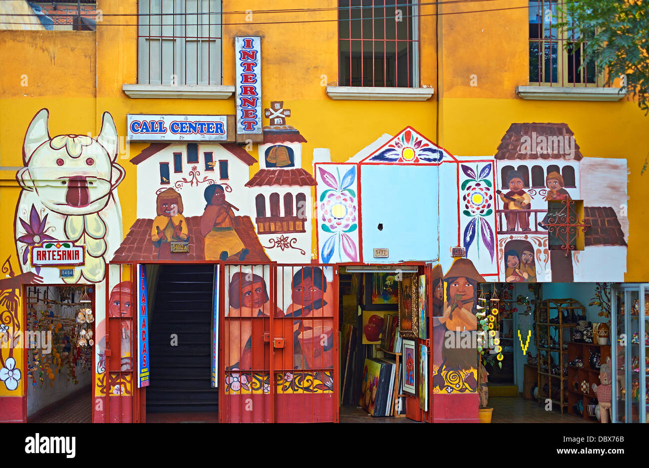 Painted Shop fronts in the Miraflores district of Lima, Peru. - Stock Image