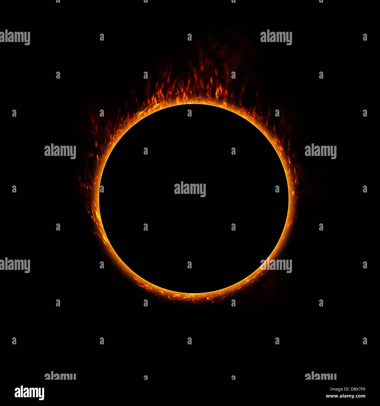 Burning ring of fire. concept for eclipse, solar energy, heat or use in a design - Stock Image