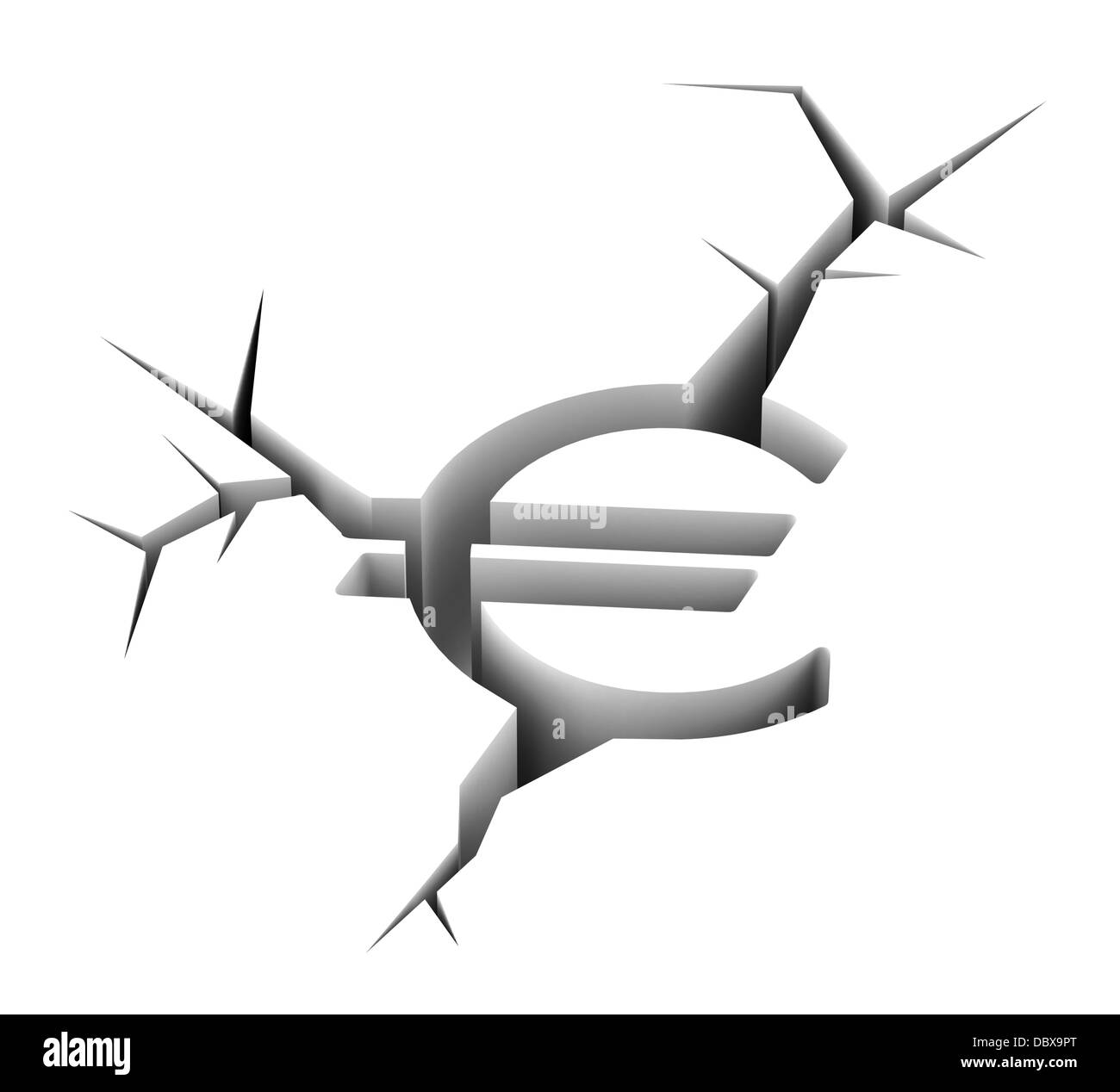 crashed euro concept - Stock Image