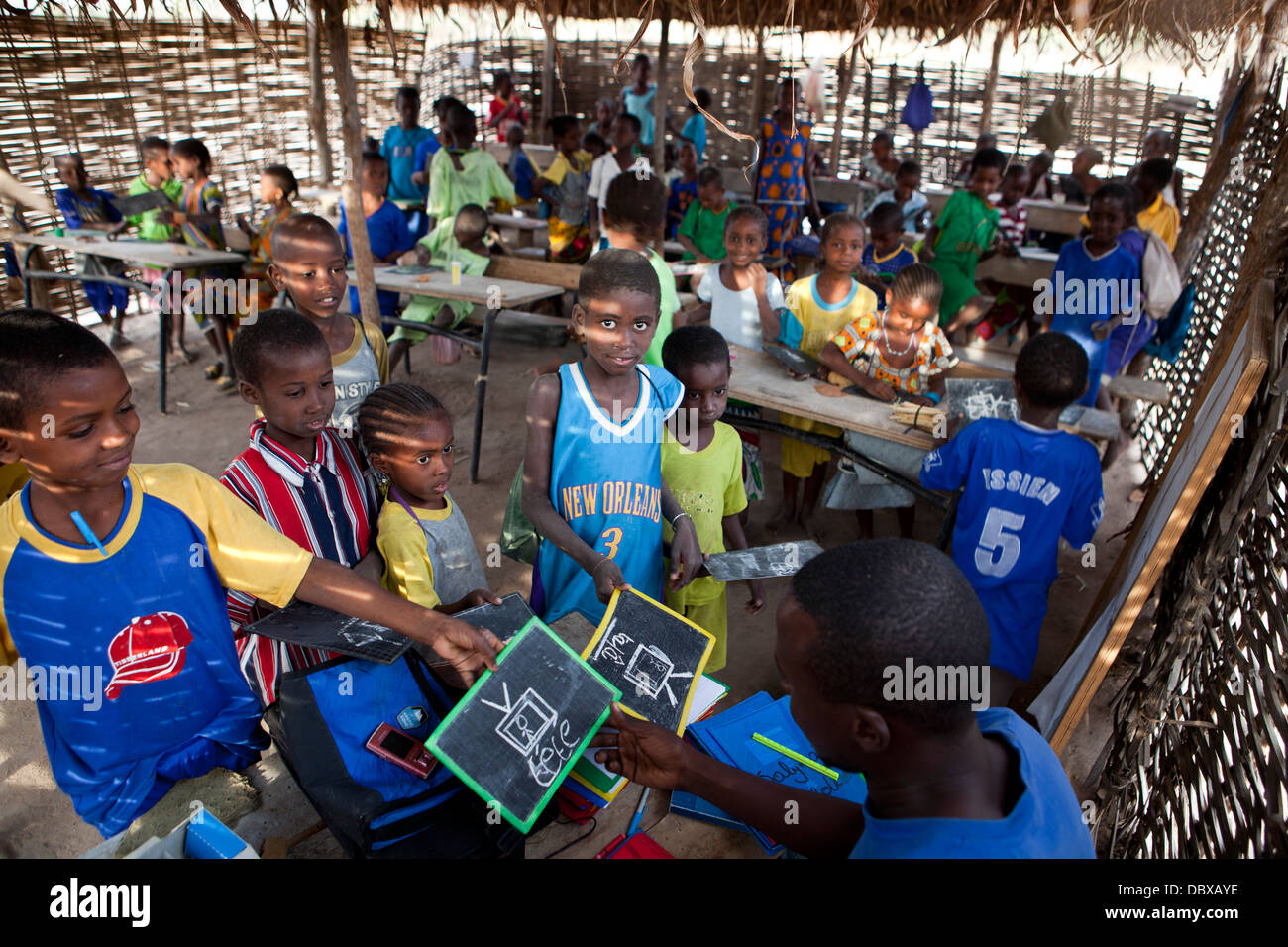 Village school in southern Senegal, West Africa. - Stock Image