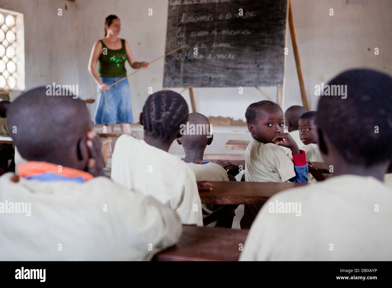 Missionary school in Guinea-Bissau, West Africa. - Stock Image