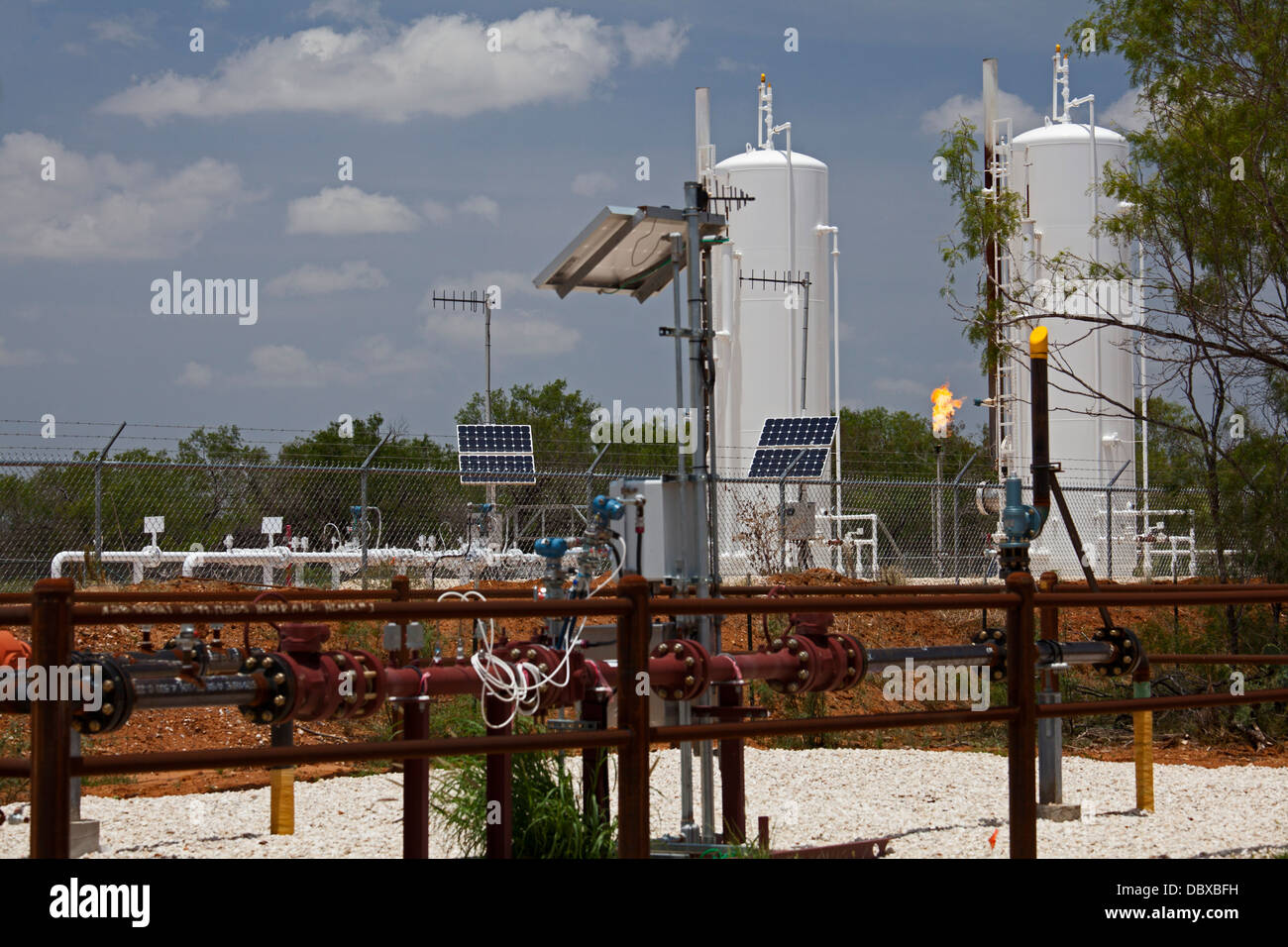 Millett, Texas - Natural gas is burned at a facility in the Eagle Ford Shale, an area of intensive oil and gas production. - Stock Image