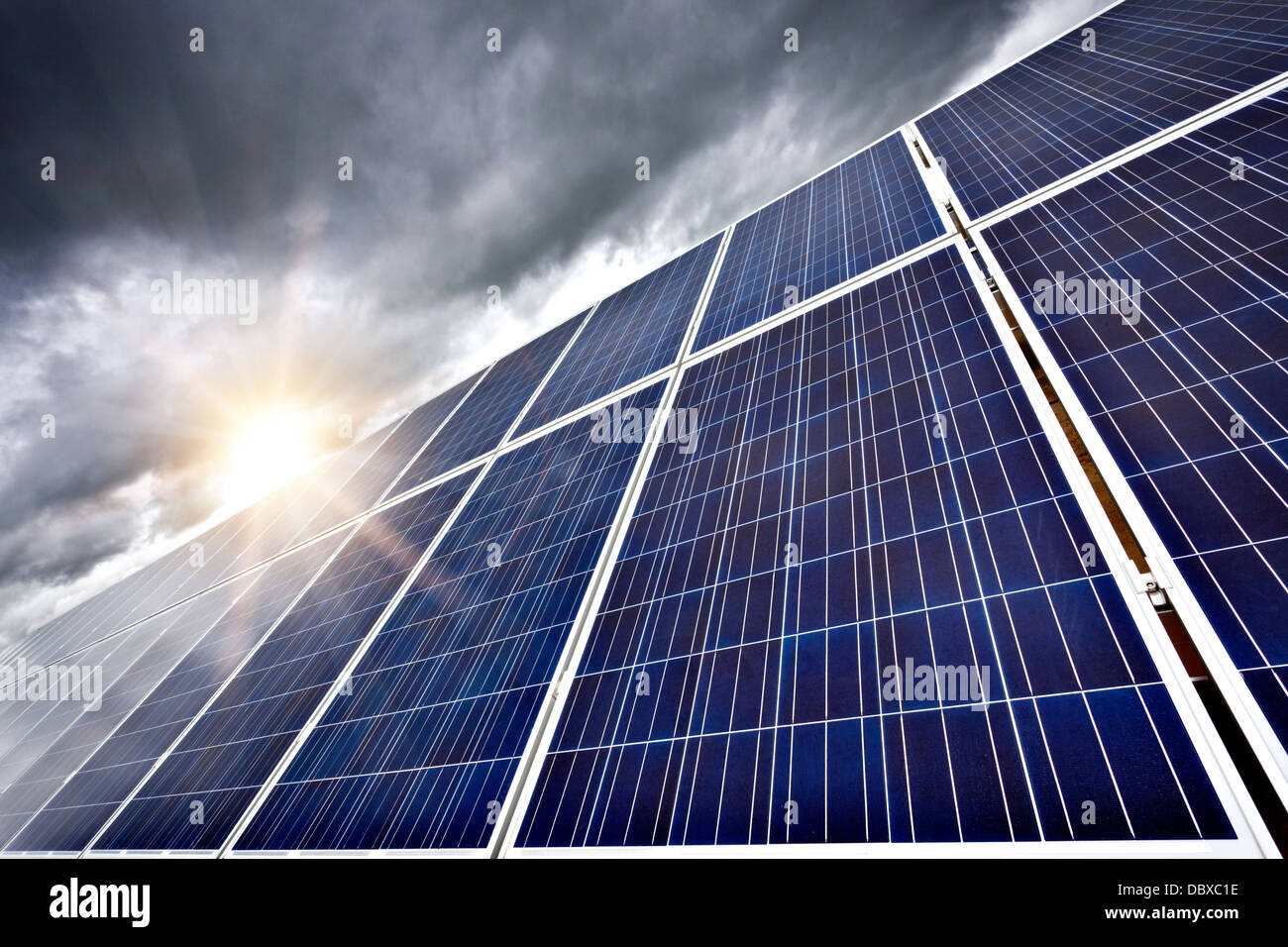 Futuristic concept of solar panels as a future electrical power generators dominance on our planet to produce electricity - Stock Image