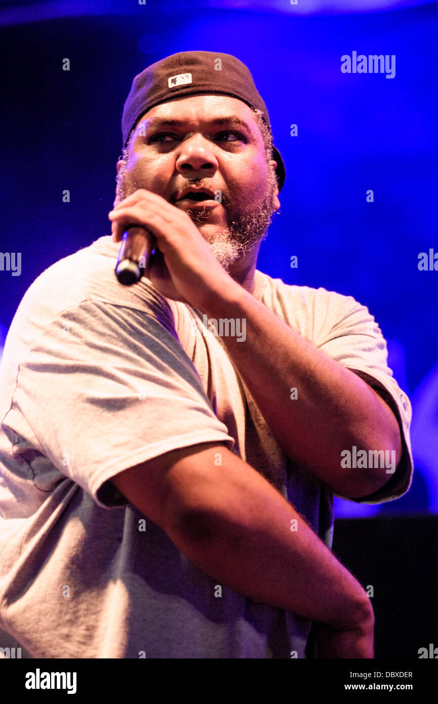 Hertfordshire, UK, 04/08/2013 : Standon Calling Festival. De La Soul bring the festival to a close on the Main Stage. Stock Photo