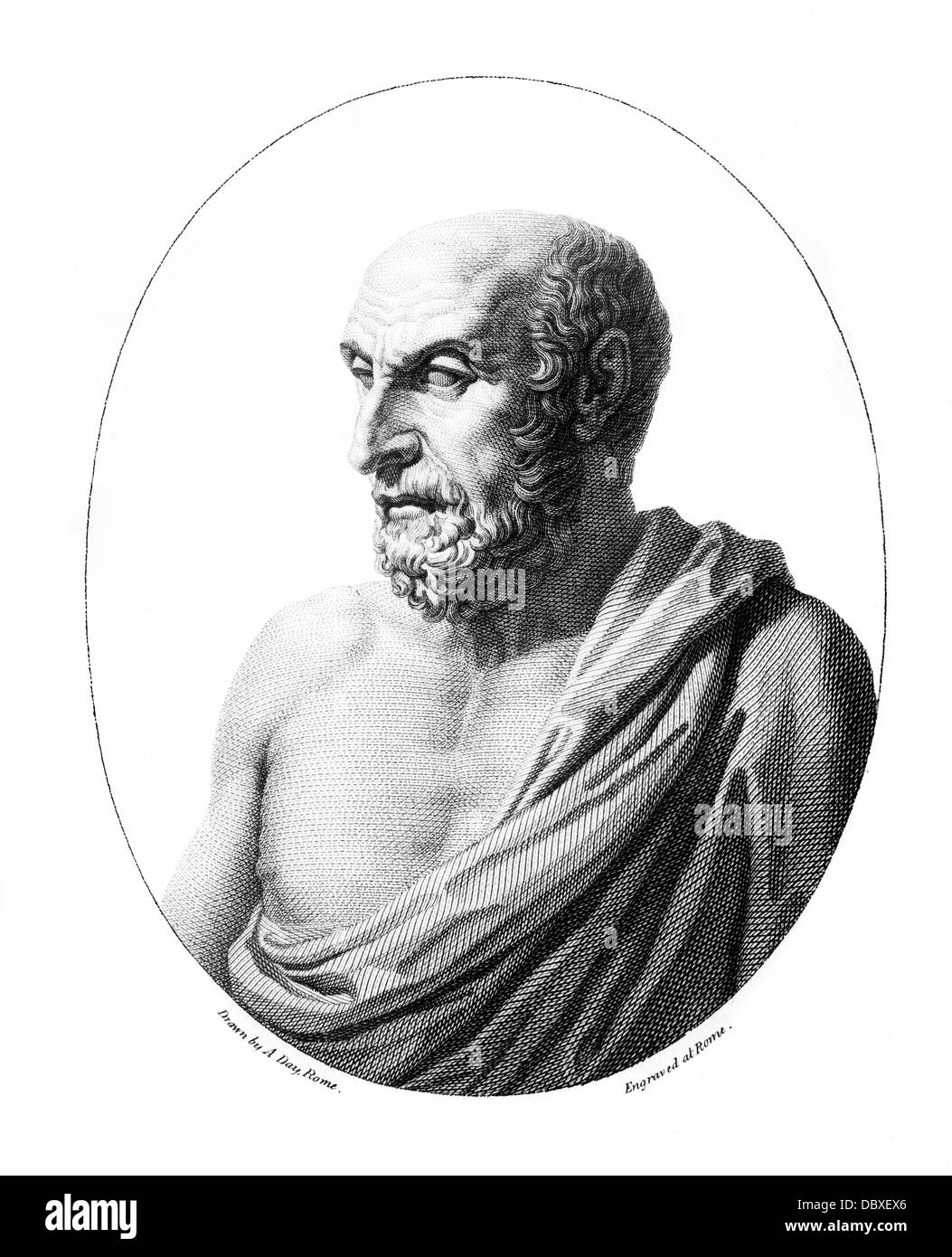 DEMOCRITUS GREEK PHILOSOPHER 400 BC ADVANCED ATOMIC THEORY ENGRAVING FROM A BUST IN THE VATICAN - Stock Image