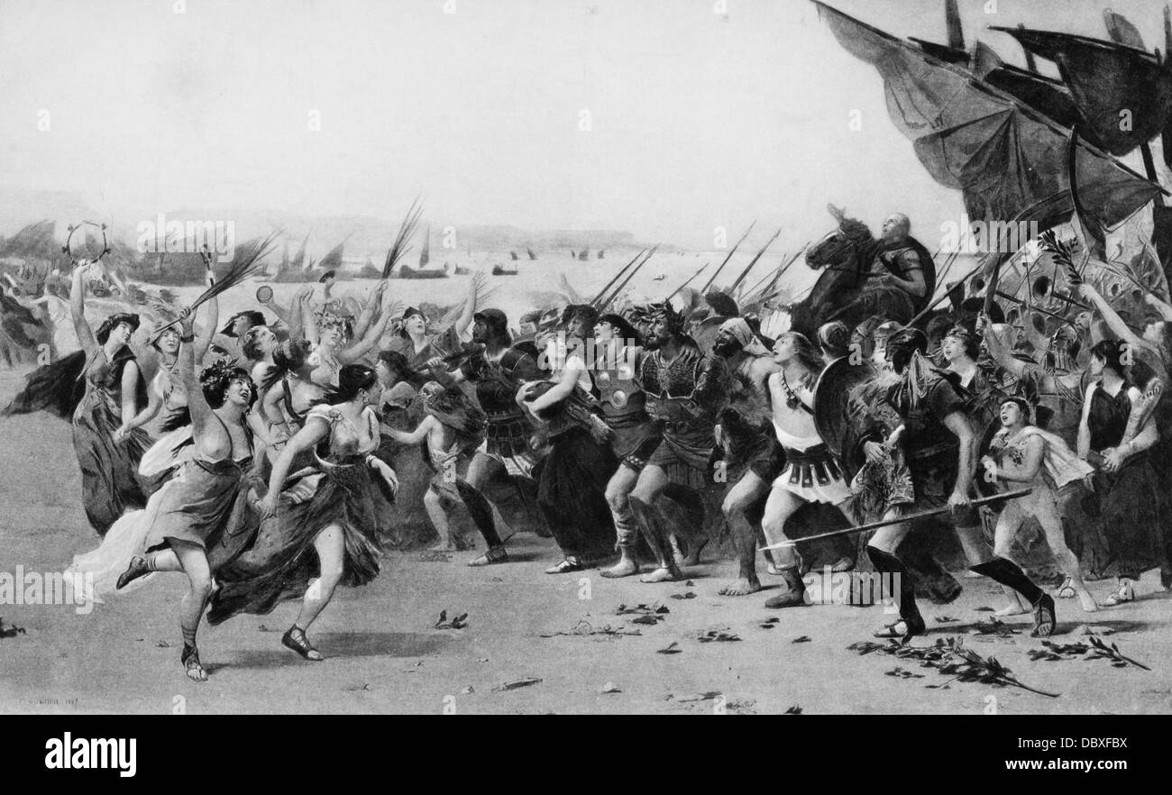 480 BC GREEKS CELEBRATING THEIR VICTORY OVER PERSIAN FLEET ILLUSTRATION VANQUISHERS OF SALAMIS - Stock Image