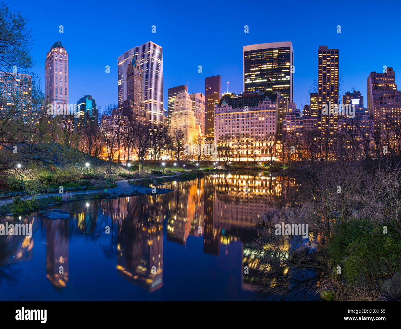 Skyline along Central Park South in New York City, USA. - Stock Image