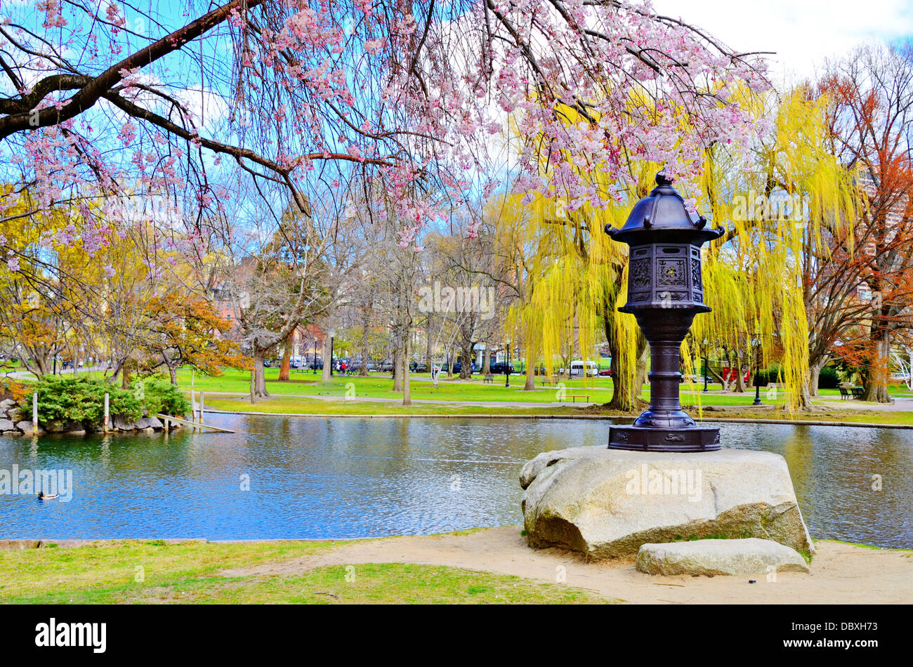Lagoon at Boston Public Garden in Boston, Massachusetts, USA. Stock Photo