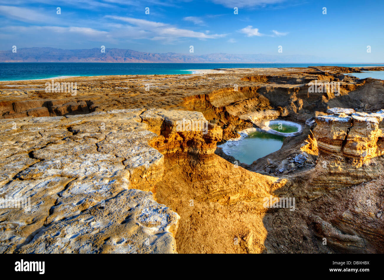 Sinkholes near the Dead Sea in Ein Gedi, Israel. Stock Photo