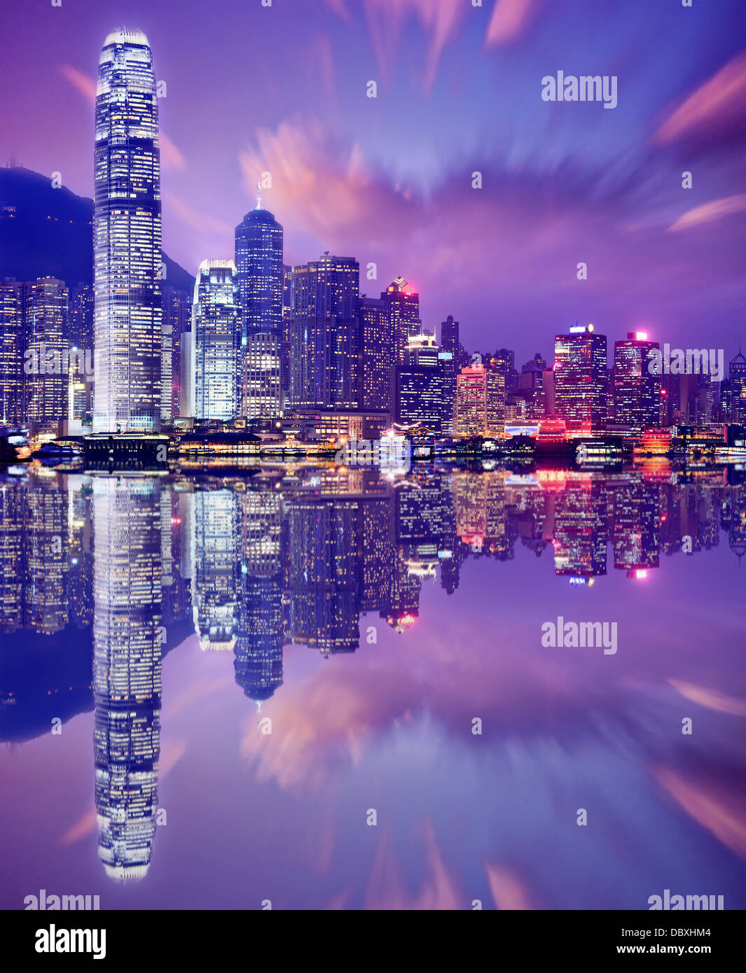 Hong Kong, China skyline from Victoria Harbor. - Stock Image