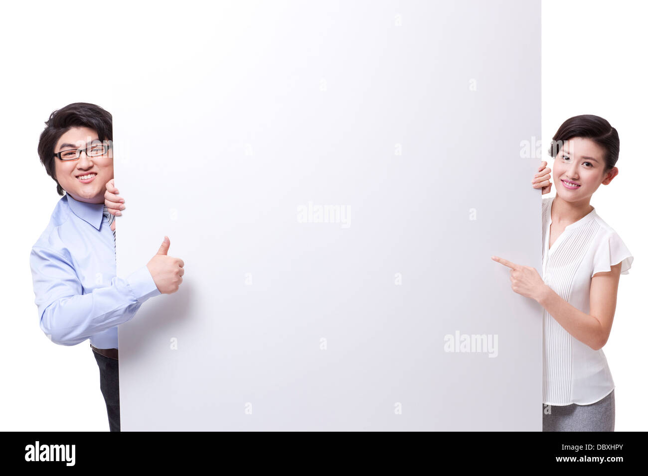 Cheerful business partner with whiteboard - Stock Image