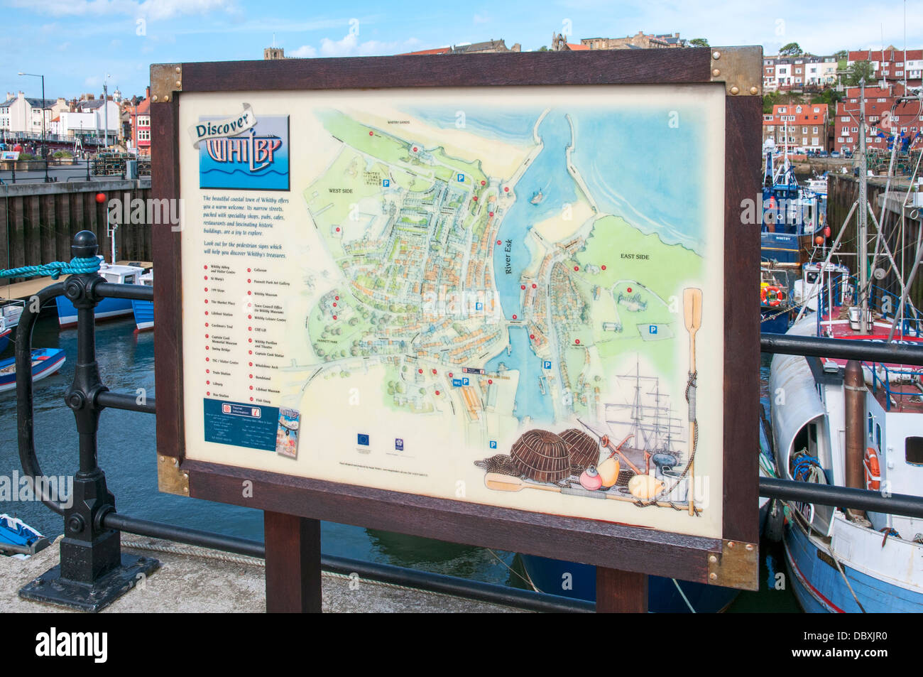 Great Britain, England, North Yorkshire, Whitby, River Esk, harbour map sign - Stock Image