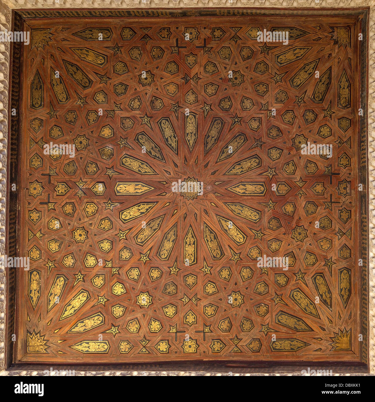 a wooden ceiling with marquetry, Alhambra, Granada, Spain. Stock Photo