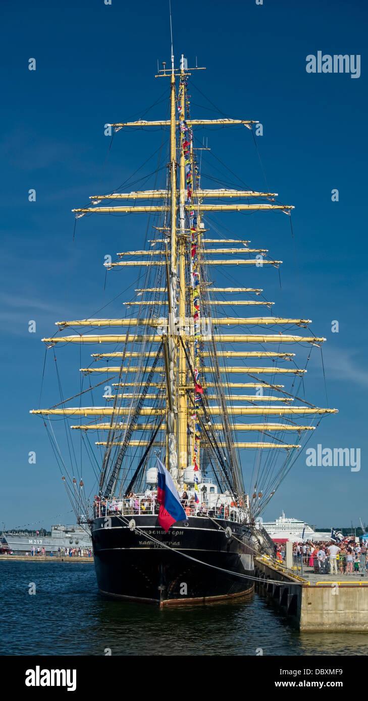 Famous russian sailing ship Kruzenshtern in Tallinn. Visitors, gue, line Stock Photo
