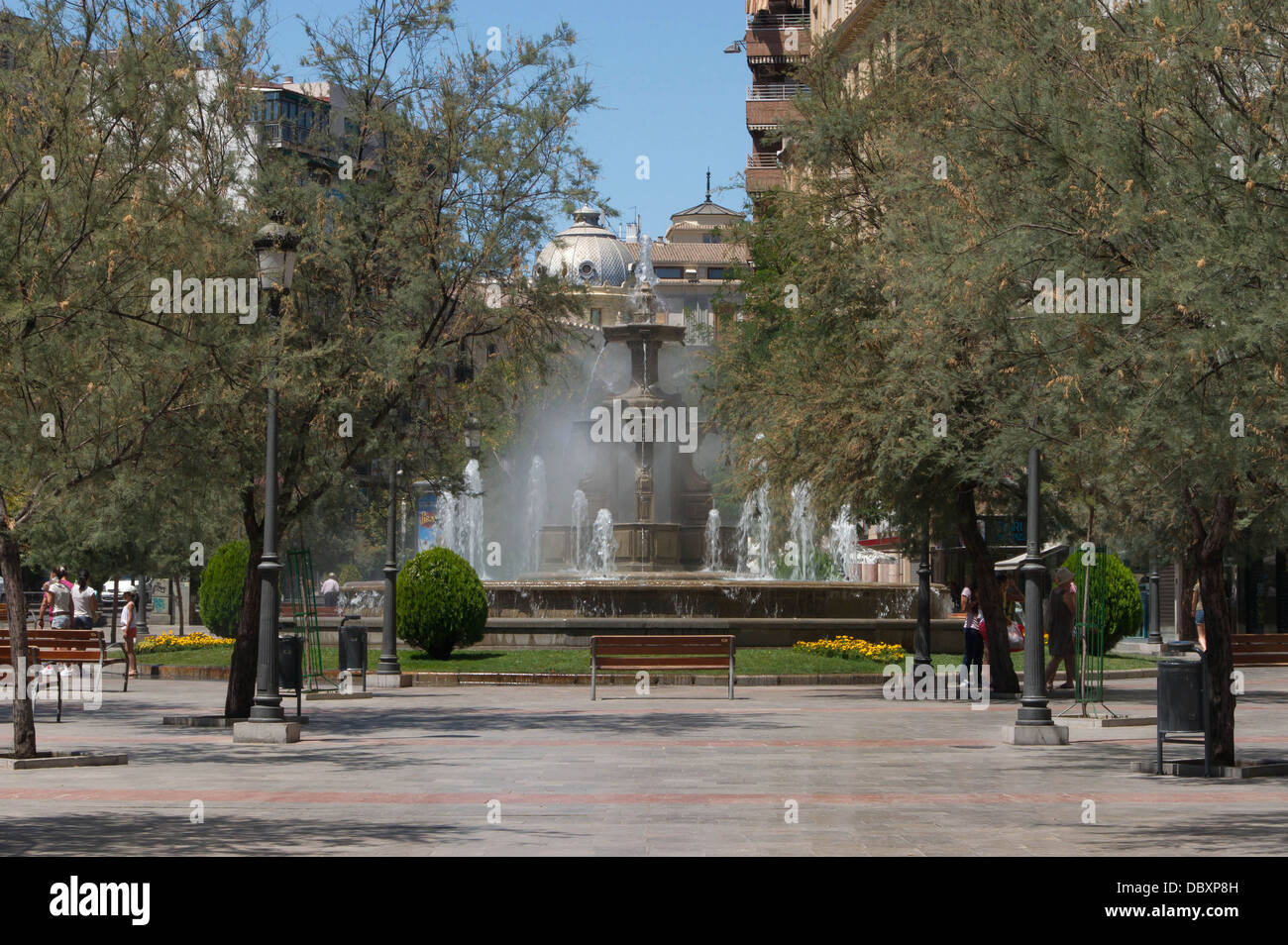 View of the Fountain of the Battles (Fuente de la Batallas), in Granada, Spain. - Stock Image