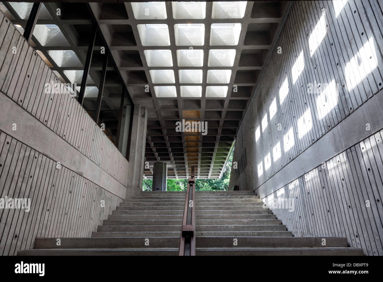 Public stairway in the J.C. Dickinson, Jr. Hall (circa 1970) designed by architect William Morgan. - Stock Image