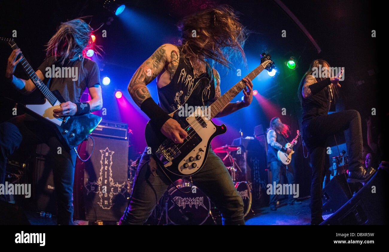 Chicago, IL, USA. 04th Aug, 2013. Ohio thrash metal band Skeletonwitch perform at a Lollapalooza afterparty at the Stock Photo