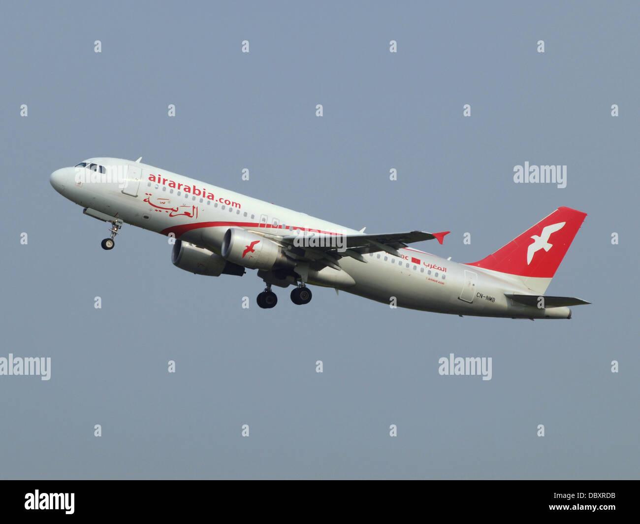 CN-NMB Air Arabia Maroc Airbus A320-214 - cn 3833 take-off 14july2013 2 - Stock Image