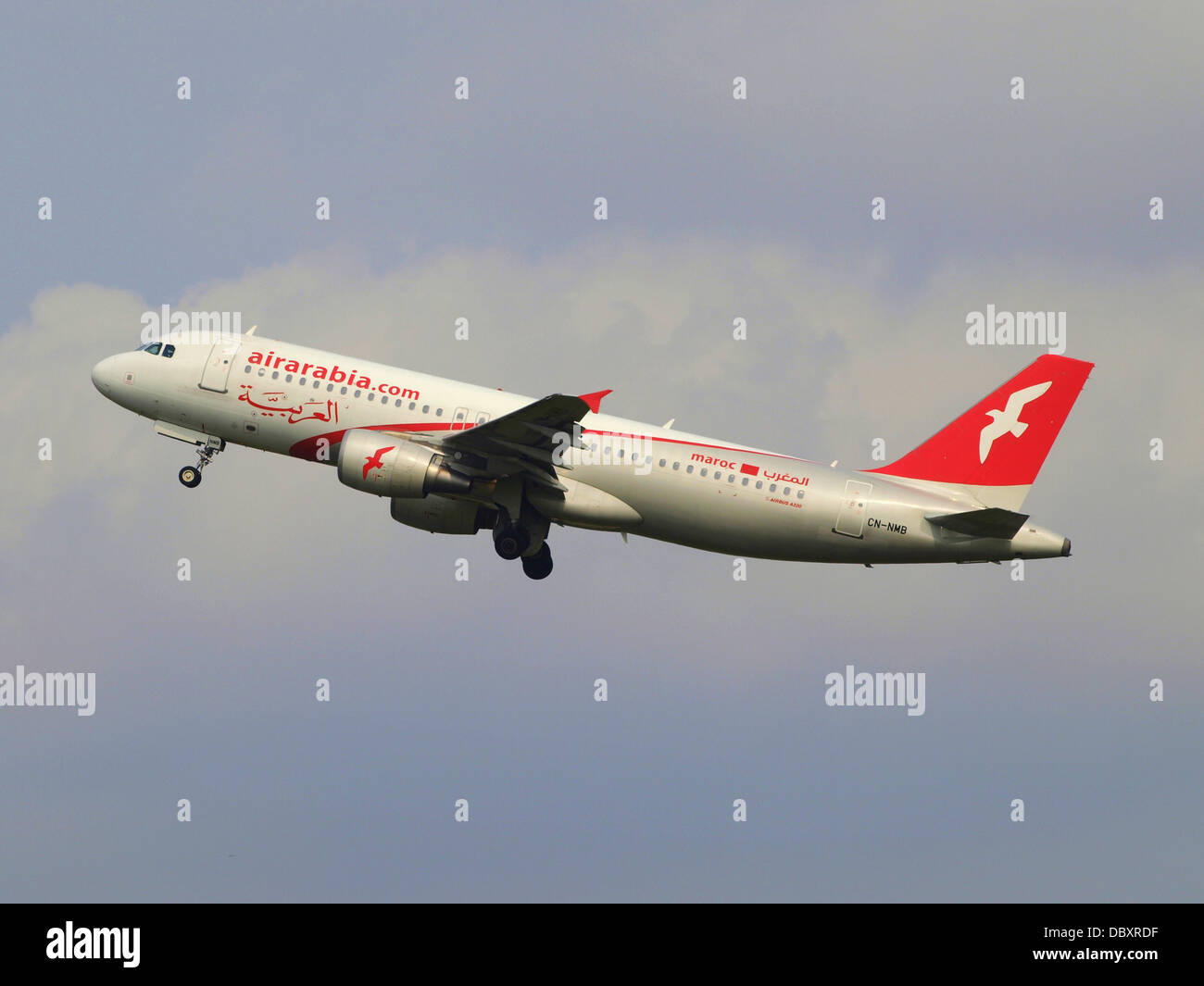 CN-NMB Air Arabia Maroc Airbus A320-214 - cn 3833 take-off 14july2013 3 - Stock Image