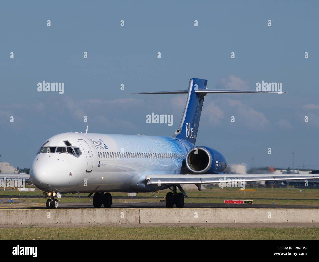 OH-BLJ Blue1 Boeing 717-23S - cn 55065 taxiing 19july2013 4 Stock Photo
