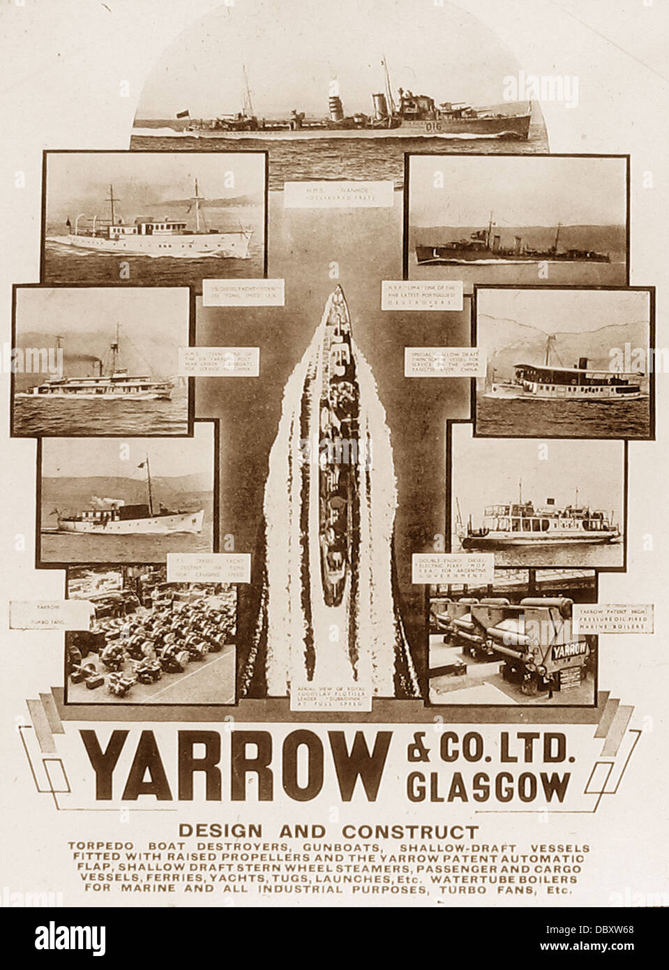 Yarrow & Co. Ltd poster early 1900s - Stock Image