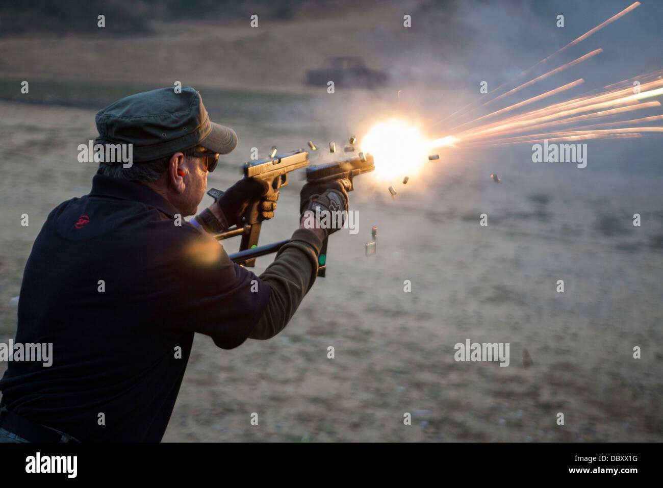 The Knob Creek Machine Gun Shoot.  - Stock Image