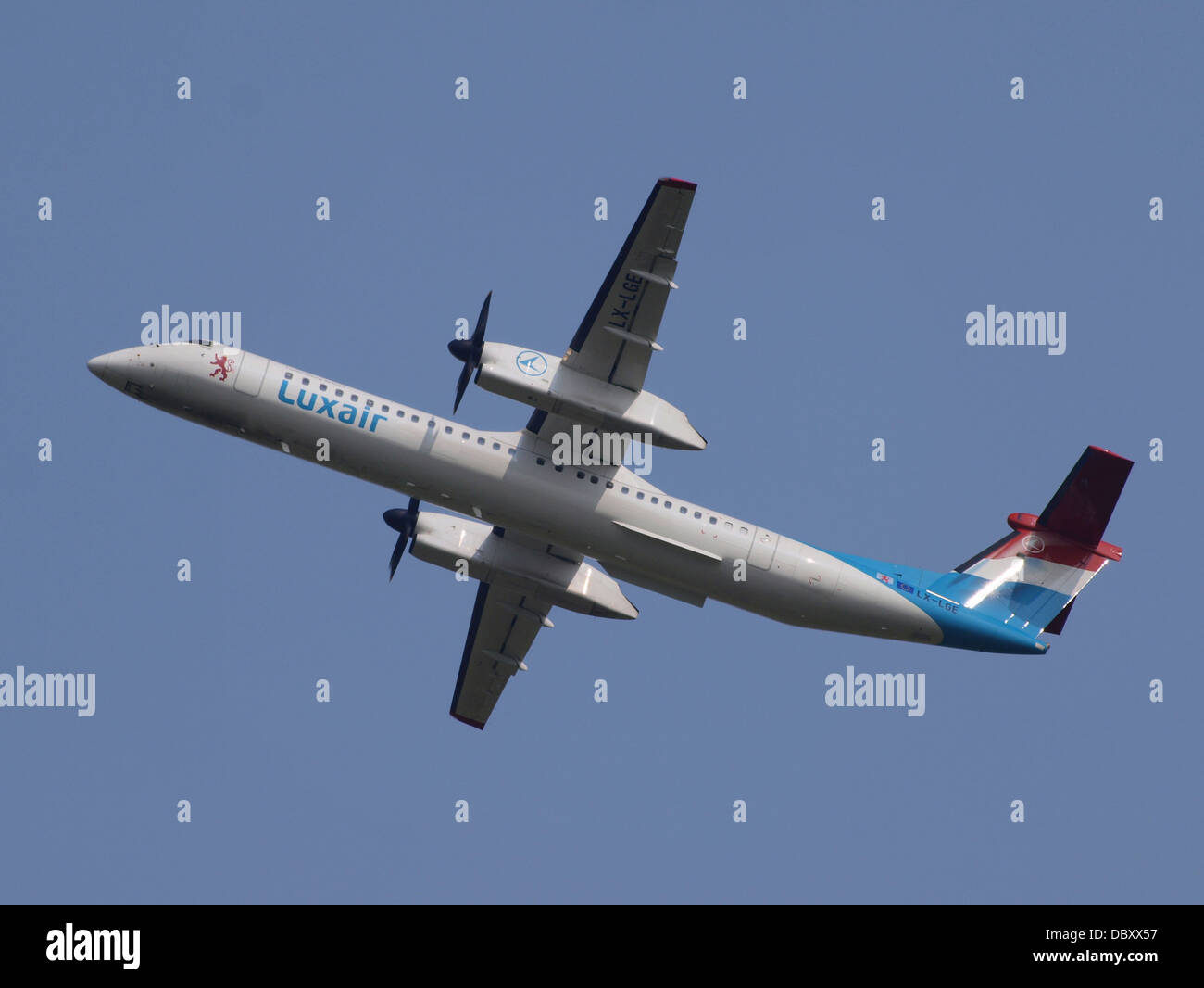 LX-LGE Luxair De Havilland Canada DHC-8-402Q Dash 8 take-off 13july2013 - Stock Image
