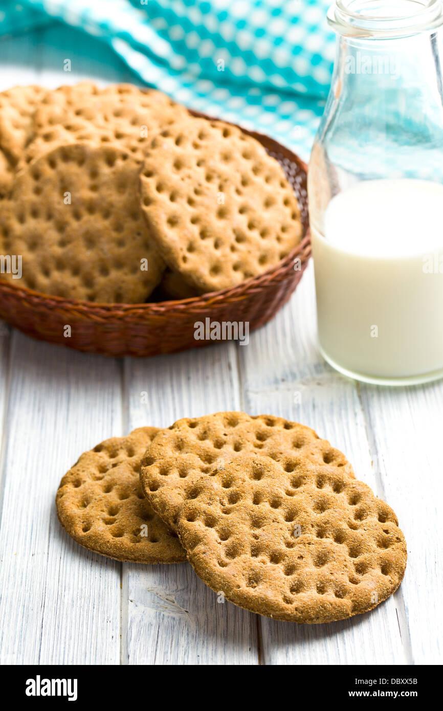 the crispbread on kitchen table - Stock Image
