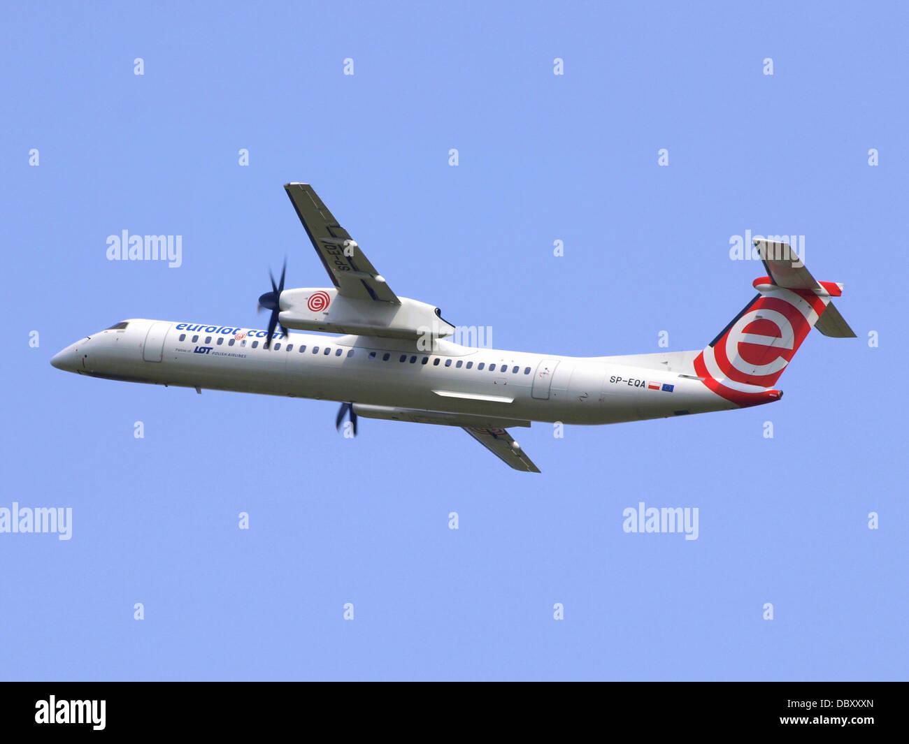 SP-EQA Eurolot De Havilland Canada DHC-8-402Q Dash 8 14july2013 - Stock Image