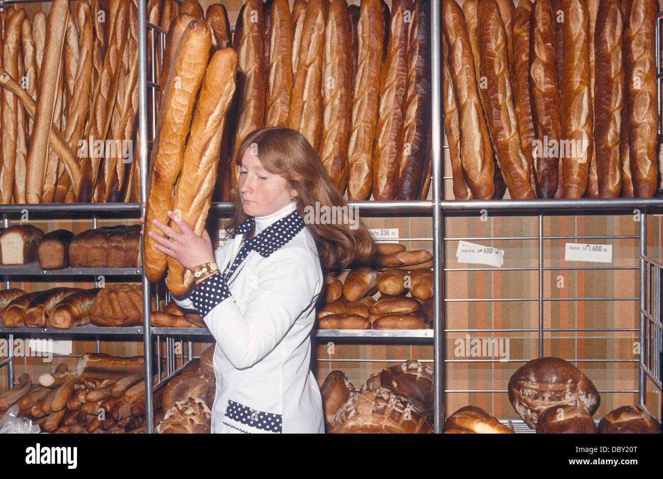 Behind the counter at a boulangerie in the French Alps. A variety of bread products. Stock Photo