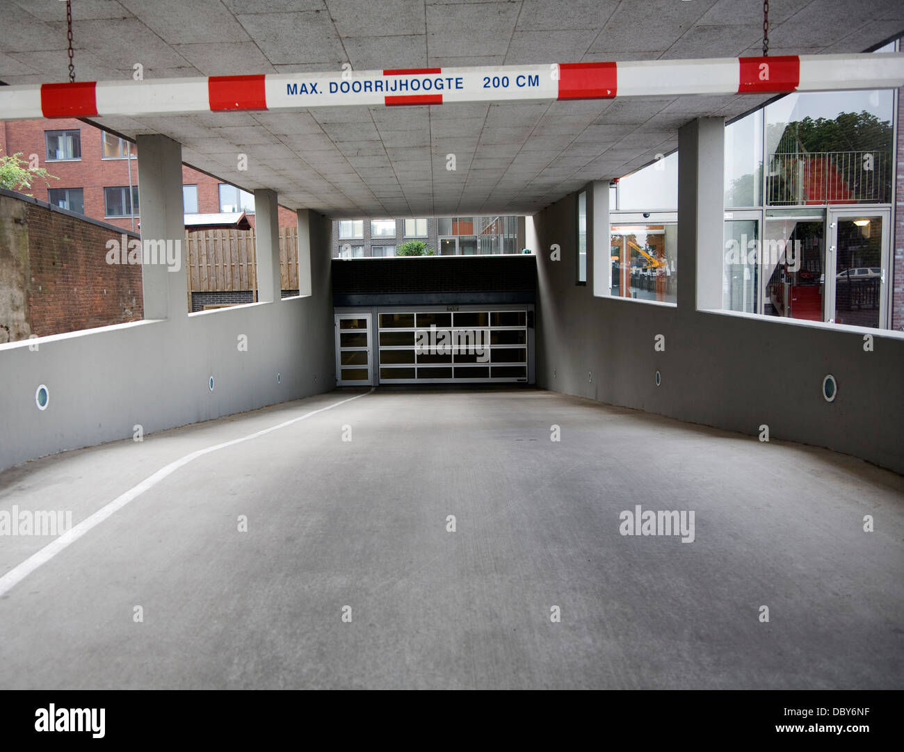 Car park entrance height barrier security gate Dordrecht, Netherlands - Stock Image