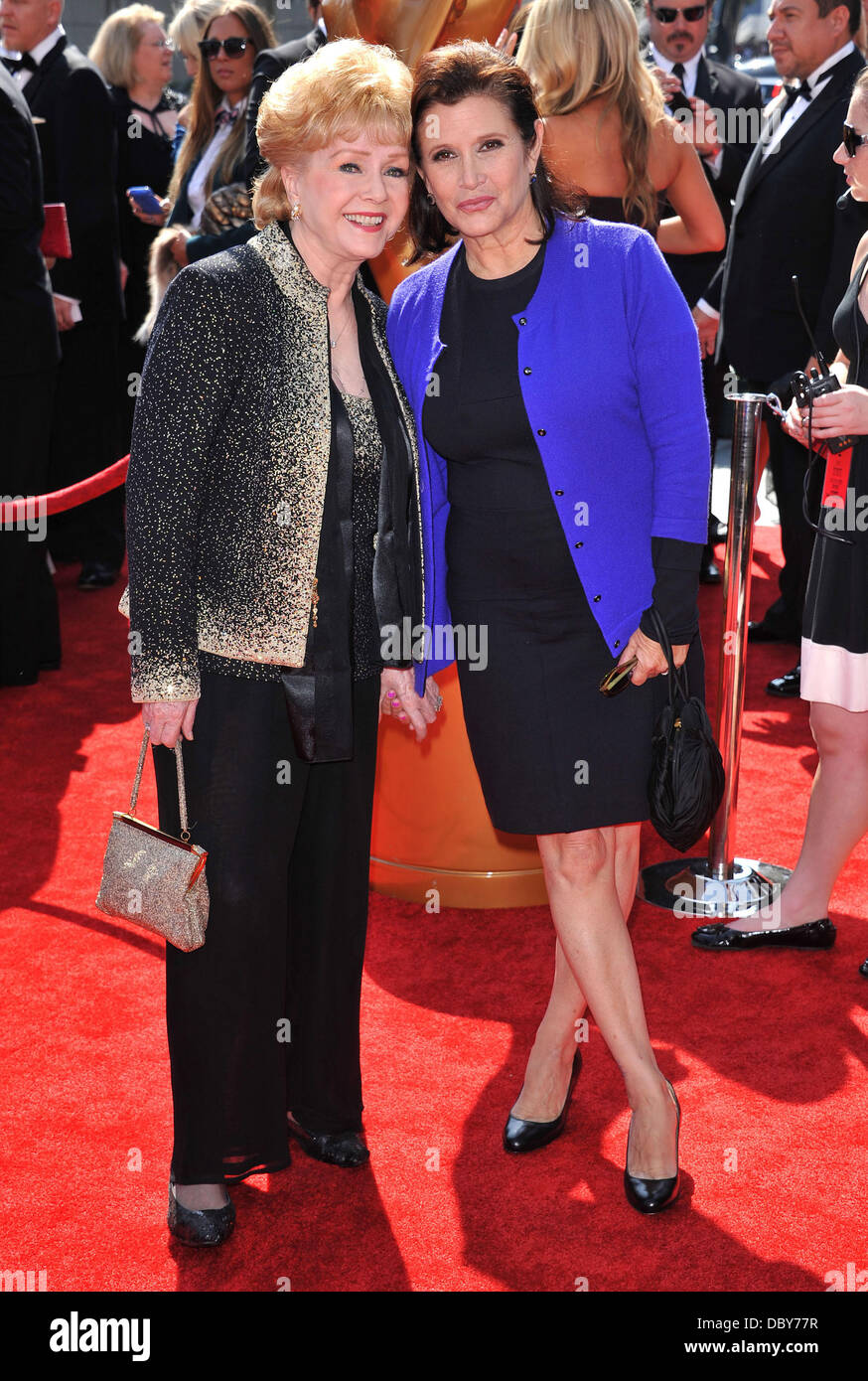Debbie Reynolds and Carrie Fisher  2011 Primetime Creative Arts Emmy Awards - arrivals Held at The Nokia Theatre - Stock Image