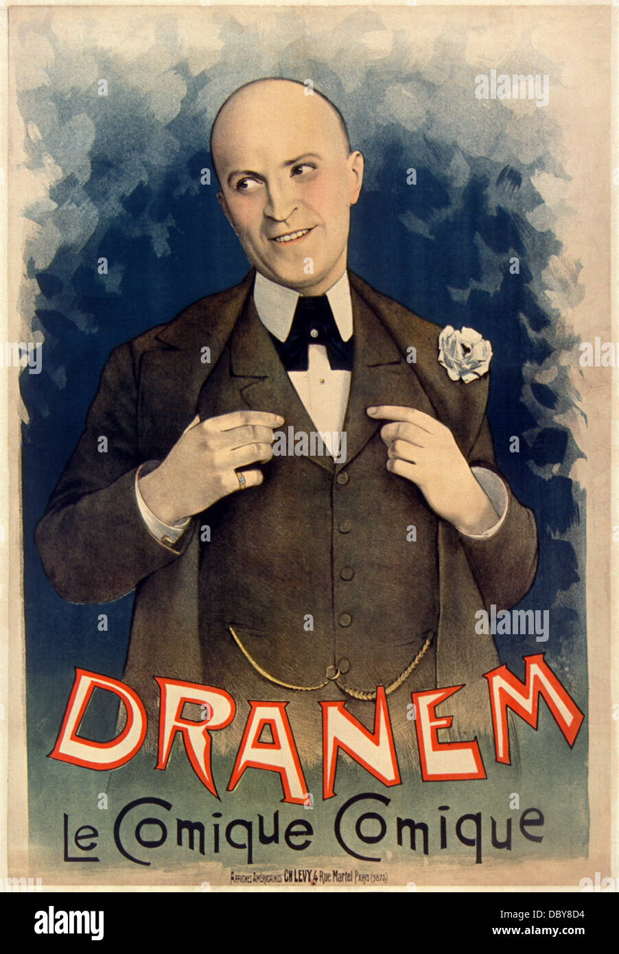 Dranem (Charles Armand Ménard, 1869 - 1935), french comic singer, music hall, stage and film actor. Poster - Stock Image
