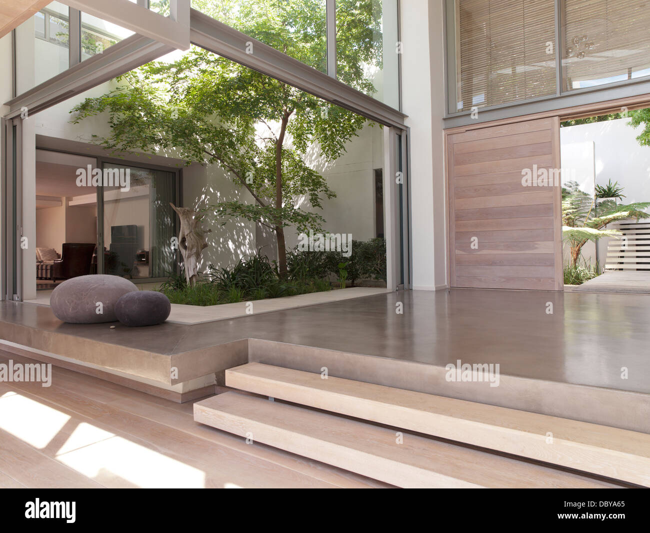 Modern Foyer Images : Modern foyer with courtyard stock photo  alamy