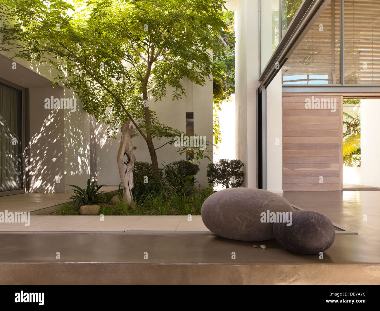 Courtyard of modern house - Stock Image