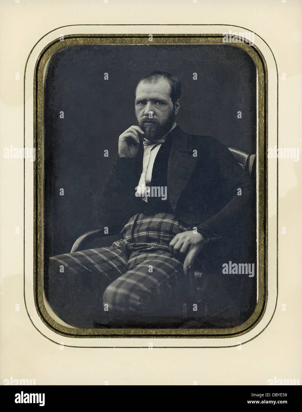 Alphonse Poitevin (1819 - 1882), french photographer. Selfportrait. Direct positive photograph on silver copper, - Stock Image