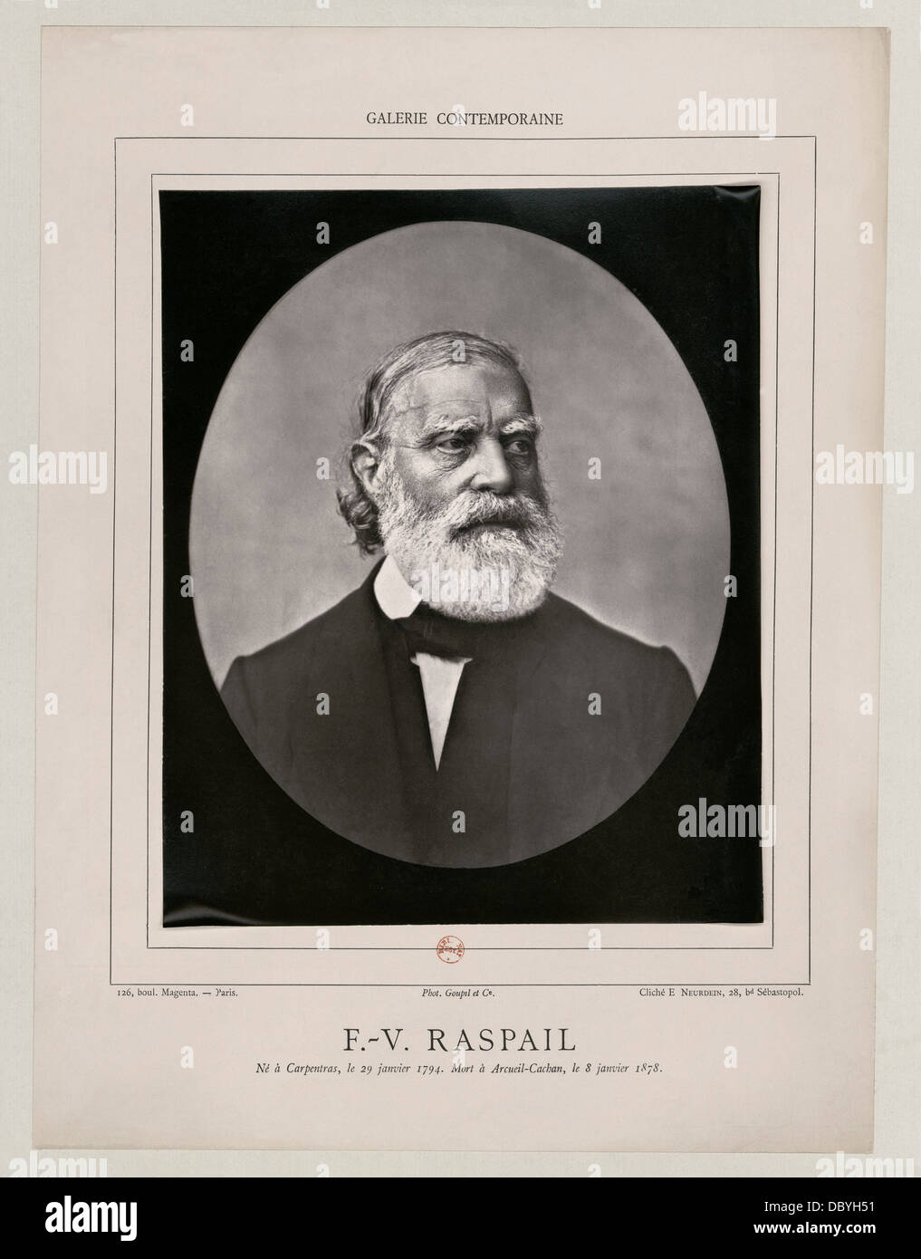 François-Vincent Raspail (1794-1878), french chemist, M.D. and politician. - Stock Image