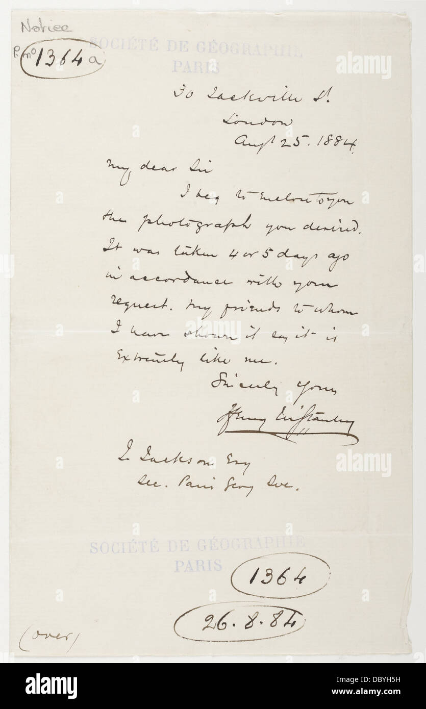 Autograph & signature of Henry Morton Stanley - Stock Image