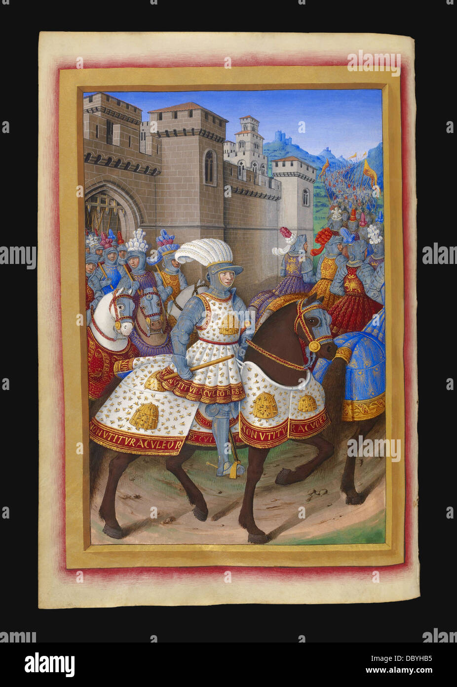 King of France Louis XII riding, out the fortress of Alessandria with his army, in order to attack the city of Genoa, Stock Photo