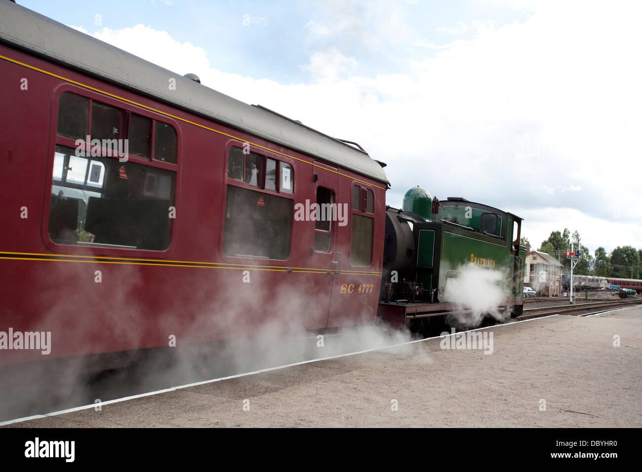 Steam engine on the Strathspey Steam Line, Scotland Stock Photo