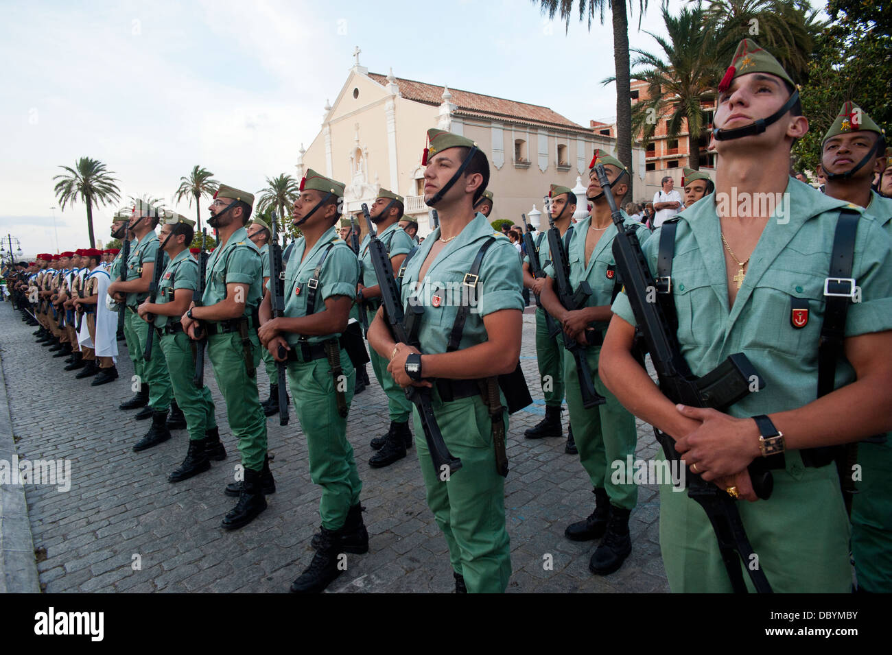 Legionary regiment in a military parade in Ceuta ( Spanish enclave on the North African coast) Spain. - Stock Image