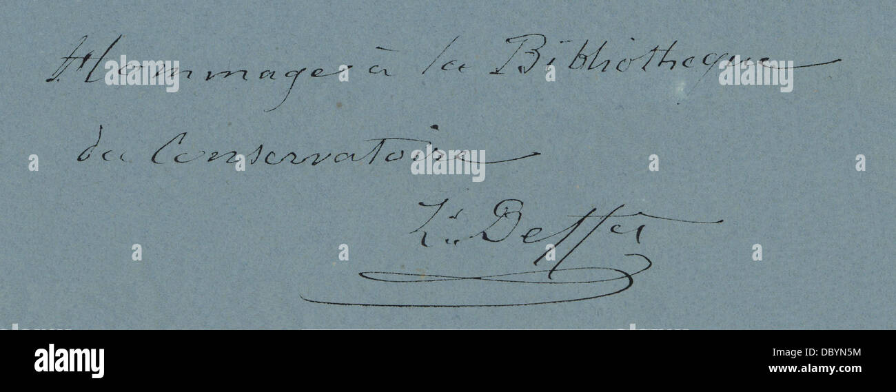 Autograph and signature of Louis Pierre Deffès, music composer from Toulouse (France), 1890. - Stock Image