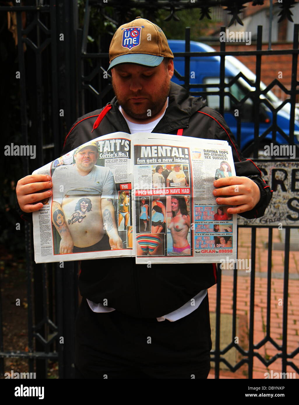 Coronation Street super fan Stephen Jones at Granada Studios with a copy of the Midweek Sport in which he's - Stock Image