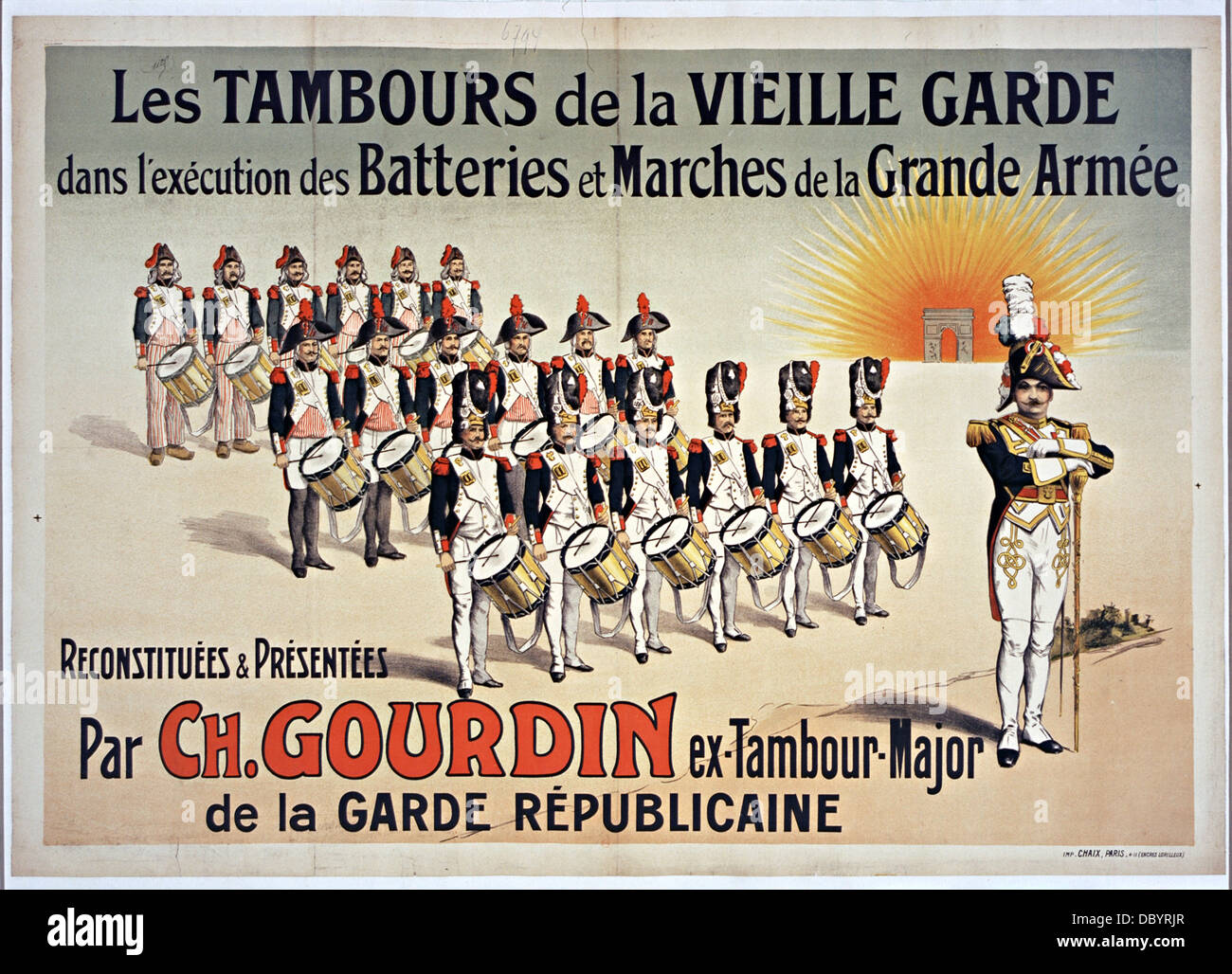 Poster, lithograph in colors 88 x 124: Les Tambours de la Vieille Garde dans l'exécution des batteries - Stock Image