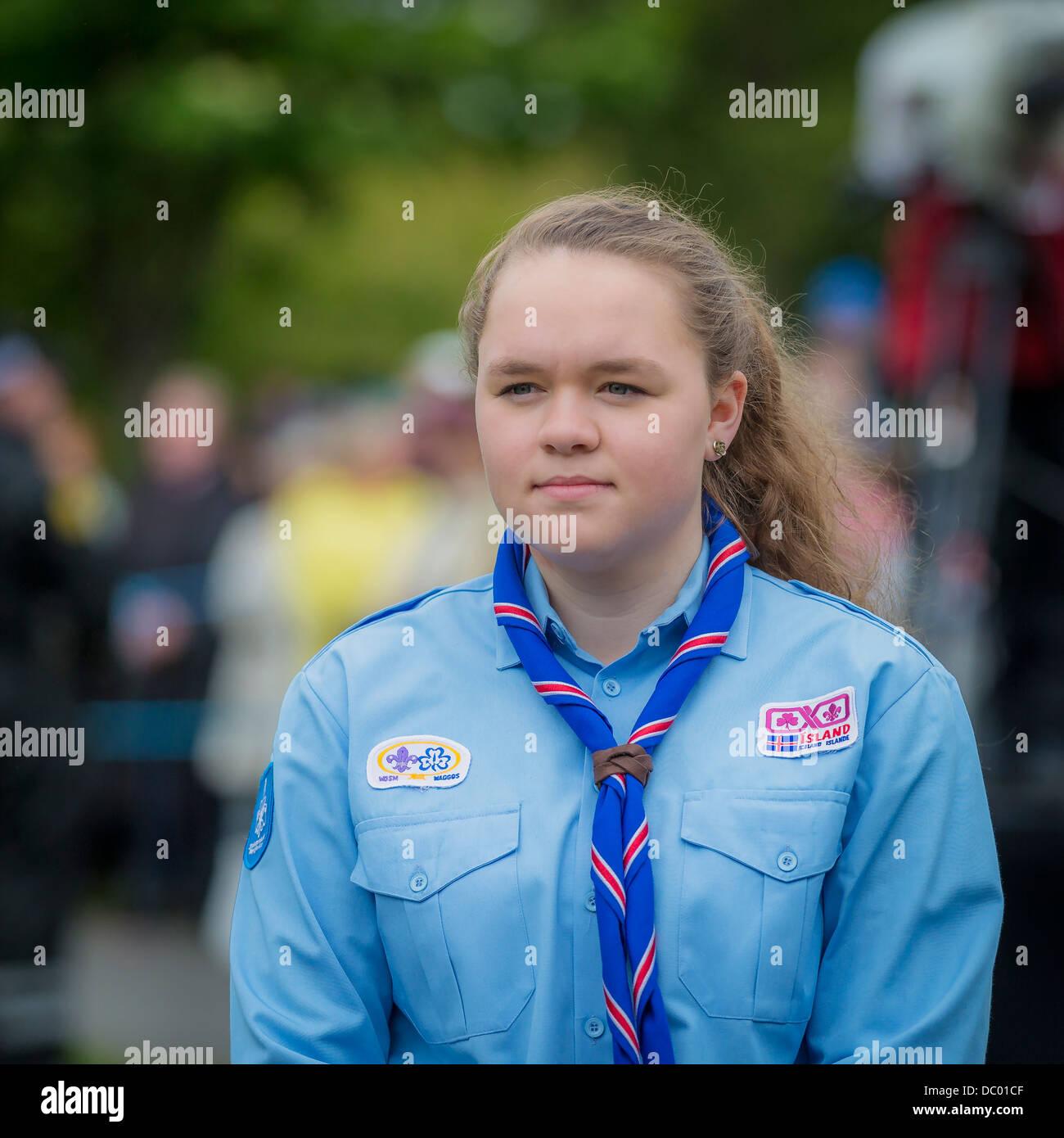 Portrait of Icelandic Girl Scout, Reykjavik, Iceland - Stock Image